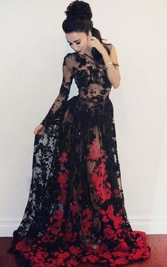 sexy prom dresses,lace prom dresses,see through prom dresses,black prom dresses @SevenProm