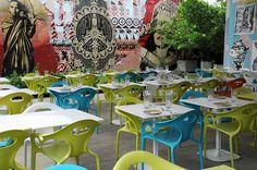 Plastic Chairs Restaurant Wall Mural, Wynwood Arts District (Miami, Florida)