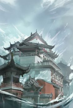 ArtStation - Flood, Sandara Tang Dragon Art, Mansions, House Styles, Water, Artist, Artwork, Home, Colors, Photos