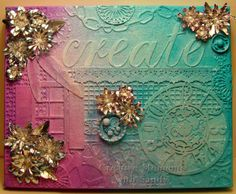 #cheeryld I stepped way out of my comfort zone and tried a mixed media piece. Dies used:  Burlap Border; Gear Mesh Border; Tiny Bubbles Border; Chain Mesh Border; Clock w/Angel Wing; Lowercase Lace Script; Shuttered Window w/Flower Box; Quills and Ink Pot; Rum Punch Doily; Anastasia Border; Dream Catcher # 1 http://www.cheerylynndesigns.com Sentiment Frame #1 Poinsettia Strip Chrysanthemum Strip Sweet Williams Strip  Miniature Rose Leaf