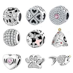 925 Silver Charm Bead Fit Original Pandora Charms Bracelets With Clear Cubic Zirconia DIY 2016 Winter Style Authentic Berloque