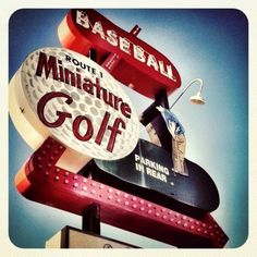 This multi-layered retro sign is the face for this mini golf joint in Saugus, MA
