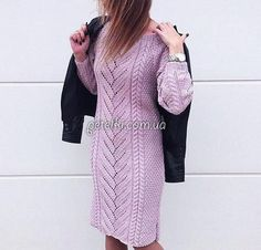 Теплое платье с центральным узором. Описание, схемы