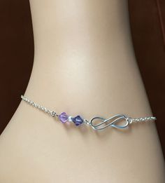 Silver Infinity Anklet 'Purple Love'- Swarovski Crystal Pearl & Beads-Sterling Silver Chain-Silver Plated Charm and Extender-With Gift Box by Studio007 on Etsy