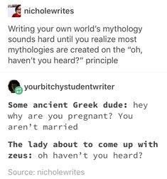 Writing Mythology | World Building | Author Humor