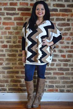 Classic Box Sweater - The ZigZag Stripe - chevron black and brown