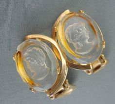 Earrings Clip-On Intaglio Cameo Rock Crystal Gold Tone Floating Oval Vintage