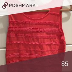 J crew lace tank Orange tank with lace details. Barely worn. J. Crew Tops Tank Tops