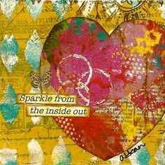 Art Print: Heart with quote. This is a giclee mixed media print of an original canvas made by me. High quality scanning and printing. Heavy stock