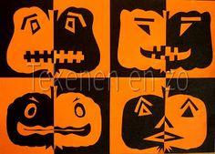 Positive negative pumpkin faces You need: black construction paper size orange construction paper size scissors knives and cutting bl. Theme Halloween, Halloween Crafts, Artists For Kids, Art For Kids, Art Plastique Halloween, Art 2nd Grade, Classe D'art, Fall Art Projects, Drawing Sheet