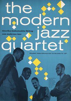 """design-is-fine: """"the modern jazz quartet in Düsseldorf, Germany, 1957. Unknown designer. Via ideenstadt / flickr."""