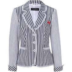 Betty Barclay Striped Linen Jacket, White/Blue ($290) ❤ liked on Polyvore