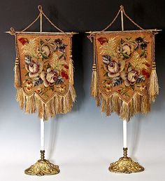 Antique Victorian Pair of Needlepoint, Beadwork Face Screens with Original Stands, Fringe.