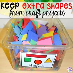 12 amazing art tricks for the early childhood classroom (this trick is my favorite) save extra shapes for shape collages Art Center Preschool, Preschool Crafts, Preschool Shapes, Preschool Ideas, Montessori Preschool, Kid Crafts, Shape Collage, Early Childhood Centre, Special Needs Students