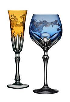Varga Springtime Stemware available in Amber, Sky Blue, Raspberry, Cobalt & Amethyst.