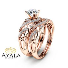 Diamond Bridal Set in 14K Rose Gold Unique by AyalaDiamonds