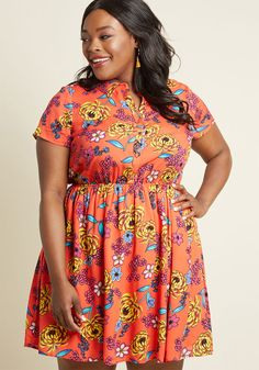Joyfully Committed Shirt Dress in Red Floral in 4X by ModCloth