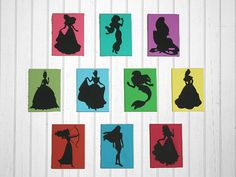 Silhouette painting in each Princess's signature color!  Princess rooms aren't just pink anymore :-)!