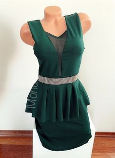 Rochie eleganta ieftina scurta stramta verde cu peplum si brau din pietricele - Rochii - Rochii banchet Peplum, Tops, Women, Fashion, Green, Moda, Fashion Styles, Veil, Fashion Illustrations