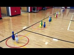 Students are in groups of They take turns bowling/rolling their ball at the pins in an attempt to knock one down. Physical Education Activities, Elementary Physical Education, Elementary Pe, Pe Activities, Team Building Activities, Health Education, Movement Activities, Recess Games, Pe Games
