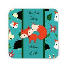 Whimsical Retro Red Fox Design Bookplate/Sticker Square Sticker