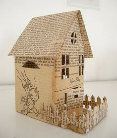 Little paper house made from vintage papers