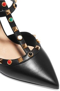 Valentino - Rockstud Leather Pumps - Black - IT40.5