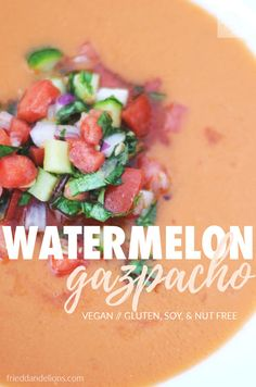 This Watermelon Gazpacho is your new go to meal when temperatures climb!  Raw fruits and vegetables come together for an amazingly fresh flavor that can't be beat!  And just look at that color! #toohottocook #raw #rawvegan #glutenfree #vegan