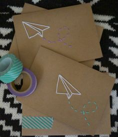 Hand embroidered cards with washi tape