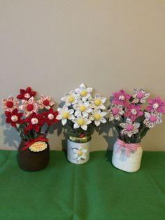 KAROLKOWO Cloth Flowers, Felt Flowers, Diy Flowers, Fabric Flowers, Felt Crafts, Diy And Crafts, Recycle Plastic Bottles, Flower Making, Food Art