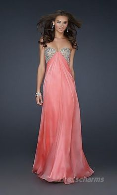 A-Line Chiffon Strapless Long Dress Charm89205 Front