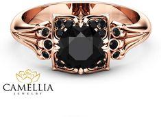 Etsy Black Diamond Modern Engagement Ring 14K Rose Gold Engagement Ring Black Diamond Leaf Ring
