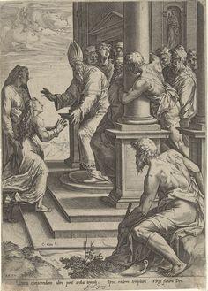 Cornelis Cort | Presentatie van Maria, Cornelis Cort, Taddeo Zuccaro, Antonio Lafreri, 1570 | Maria wordt door haar moeder Anna begeleidt naar de tempel. Voor de deur van de tempel wordt zij opgewacht door de hogepriester Zacharias.