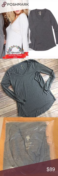 Large Naked Truth Long Sleeve Charcoal Grey You will instantly fall in love with this top. Incredible quality, extremely soft and SO comfortable. The length is amazing for those of us who like a longer top, this is it. These tops retail for $108 and were ranked in Oprah's favorite things! Made in the USA & loved by many celebrities. Size Large (4), material is 95% modal 5% spandex. Please refer to size chart. Limited quantities available! Comes in original packaging (picture 3) Naked Truth…
