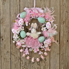 Easter Wreaths for Front Door, Easter Decorations, Easter Egg, Easter Bunny Wreath, Easter Decor, Easter Rabbit, Easter Nursery Bunny Decor by VintageShopCreations on Etsy
