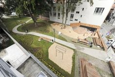 Garden Landscaping, Playground, The Neighbourhood, Mansions, Landscape, House Styles, Outdoor Decor, Altitude, Courtyards