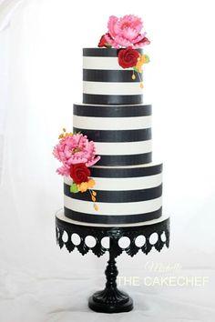 Very modern with bright sugar flowers! Black And White Design, Black White Stripes, Kate Spade Cake, Cake Cookies, Cupcakes, Sugar Flowers, Cake Pops, Color Pop, Cake Decorating