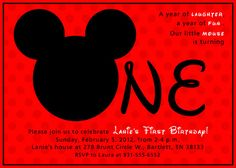 i like the idea.  Mickey Mouse First Birthday Party Invitation by HappyPipStudio, $12.00