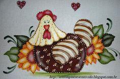 pintura em tecido pano de prato galinha - Pesquisa Google                                                                                                                                                     Mais