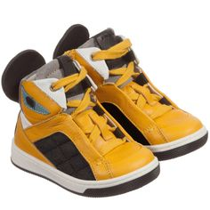 Boys Yellow Leather 'Monster' High Top Trainers, Fendi, Boy