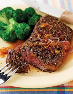Grilled Steaks with Peppercorn Mélange & Sweet Onion Marmalade