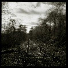 Beautiful Holga black and white photograph of abandoned train tracks #holga #analog_photography #black&white