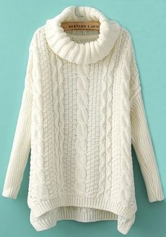 Love White Sweaters! Cozy White Cable Knit Irregular Hem Pullover Sweater