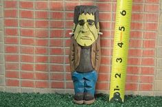 Halloween Frankenstein FRANKIE woodcarving by MADellingerCarving