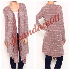 """Long Striped Cardigan in Rust ✳️Bundle to save 15%✳️ 56% polyester, 41% rayon, 3% spandex Length: 40"""" (longest point of the front) - 35"""" (back) Made in the USA Boutique  Sweaters Cardigans"""