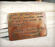 Wallet Card Insert - Rustic Fired Finish - Copper Hand Stamped - Anniversary - Wedding - Personalized Gift- Customize - Corporate Gift