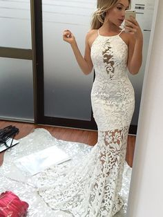 Straps White Lace Mermaid Long Prom Dress with Train