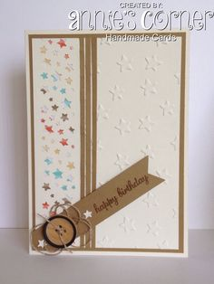 Birthday card for a friend, using Stampin Up Confetti Stars Punch & Lucky Stars embossing folder.