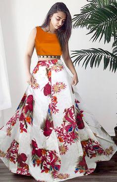 Bangalori Satin Lehenga Choli from Stf Store Orange Lehenga, Floral Lehenga, Lehenga Crop Top, Lehenga Skirt, Lehenga Choli, Bollywood Designer Sarees, Bollywood Lehenga, Indian Silk Sarees, Digital Print