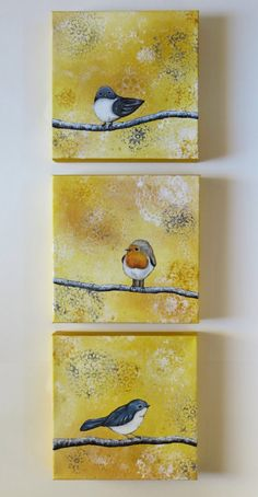Acrylic painting, trio of birds, original paintings, bird painting, gray and yellow, nature and lace, animal painting - The newest addition to my Nature and Lace series is titled Good Neighbors, and it features a trio of acrylic paintings. This triptych collection features three original, 10 X 10 inch paintings( gallery-wrapped canvases), totaling 2 1/2 feet in length. I have a beautiful, golden yellow background that I have layered a lacey look. I have added soft white, cream, ocher, grey…